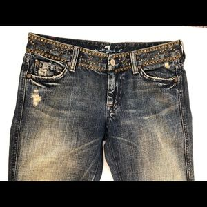 "Studded Distressed Boot Cut ""A"" Pocket Jeans Sz 27"